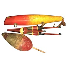 Vintage Fishing Lure and Bobbers with great paint colors