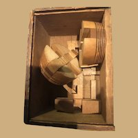 Old Dovetailed Wooden Puzzle Box with Scribed Wooden Puzzle