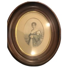 Beautiful Oval Framed Image of Queen Hortense with Squared Oval Frame.