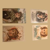 Four Beautiful and Classic, Three by Five Ephemera Images, from the late 19th Century