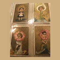"Four Wacky and Wonderful 3"" x 5"" Ephemera Flower Girls in Gold"