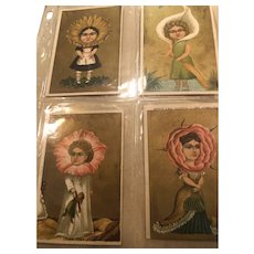"Four Wacky and Wonderful 3"" x 5"" Ephemera Flower Girls in Gold"