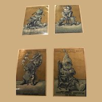 Four Blue and Gold Ephemera Cards of Children at Play