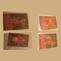 Four Pink and Gold Ephemera Cards with angels and Children