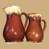 Two Sweet, Classic and Simple Roseville Pitchers with Pretty Glaze