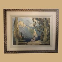 Classic Maxfield Parish Print in Beautiful Gold Frame with French Matte