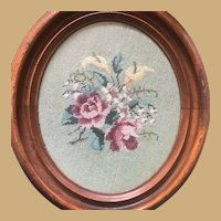 Ogee Molded, Oval Wood Framed, Hand Needlepoint of Floral Bouquet