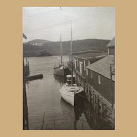 Framed Vintage Photograph of Sailboats  in Harbor