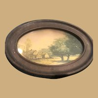 "Small 5"" x 7"". Farm Scene in Oval Metal Frame"