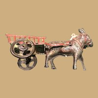 Five inch light tin Donkey and Cart