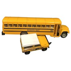 Six Inch Yellow School Bus and Two Inch Archeologist Jeep