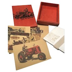 Eight Five by Seven Tractor Cards with Red Wood Box and Envelopes