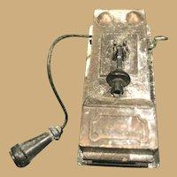 Miniature Two Inch Copper Wall Telephone with wire and mouthpiece