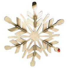 Two Inch Diameter Pewter Snowflake on a Red Velvet Ribbon