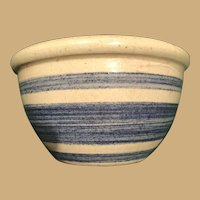 Sweet Four Inch Diameter, Blue Striped Doll Bowl
