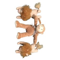 Three Small Stuffed Animals, Twin Lions and a monkey