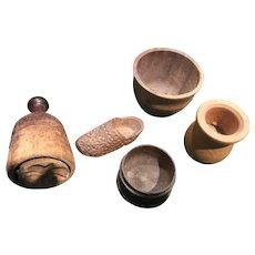 Five Miniature Wooden Doll Toys, Wooden Shoe, Bowl, Jug, Barrel and Clover Leaf Butter Press