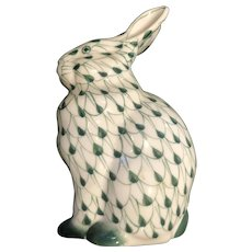 Green and White Fishnet Pattern, Hand Painted Rabbit