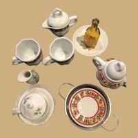 16 piece Red and Yellow, Flowered and White Large Doll Tea Set With Assorted Table Items