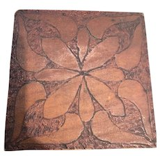 Four by Four inch Carved Wood Box with Hinged Lid