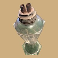 Classic Sandwich Glass Whale Oil Lamp with attached burner