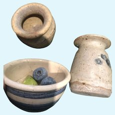 Three pieces of Miniature  Pottery with blueberries and apples for Dolly or Display