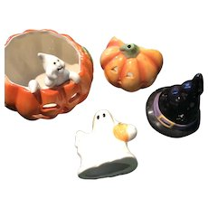 Four Traditional Ceramic Pieces with Silhouettes for Halloween