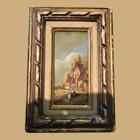 Six Inch by Nine Inch Tempera Painting in plaster and Gilded Frame