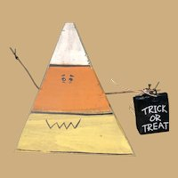 Five Inch Triangular Candy Corn Made From Wood and Wire