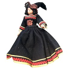 10 inch Plastic Witch Doll with Black Dress and Hat