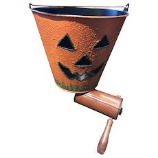 Really Loud old Brass, Tin and Wood Noise Maker with 10 inch Pumpkin Trick or Treat Bucket