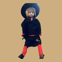 "Old Frightful 22"" Smiling Aggie the Wax Witch with Pet Spider and Red Stockings"