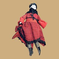 Ten Inch China Head Doll with Red Dress and Black Boots