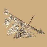 Vintage Eighteen  by Thirteen Inch  Black Weathervane Arrow with Ship