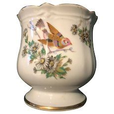 Five Inch vase with Birds, Daisies, and Gold leaf Scalloped Edge