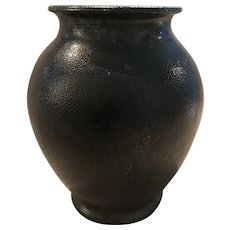 Black Glass Vase with Clear Bottom