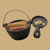 One inch Cast Iron Kettle of corn and Frying Pan with Eggs