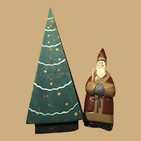 Wooden and Carved Folk Santa and Christmas Tree