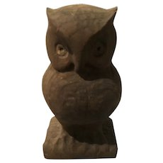 Eight Inch Carved Wooden Owl