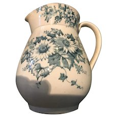 Small Six Inch Soft Paste Pitcher with Blue Floral design