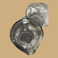 Heavy Etched Glass Grape Leaf Pitcher and Ice Bowl