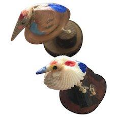"Two Sweet Artist Made Shell Birds under 2"""