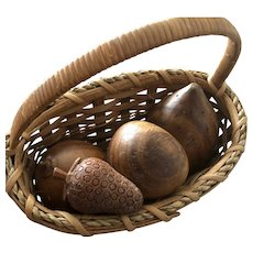 Eight Inch Basket of Wooden Fruit