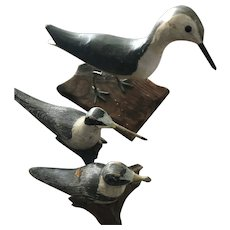 Three Hand Made Wooden Shore Birds Signed by Artist