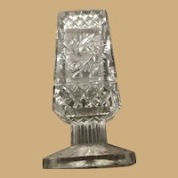Cut Glass Rectangular Candle Holder measures Five Inches