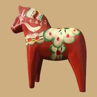 Four by Four Inch Colorful Hand Painted Wooden Horse