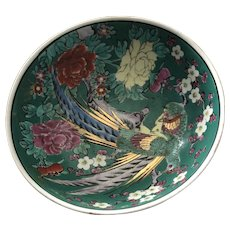 Beautiful Eight Inch Colorful Japanese Bowl with Peacock