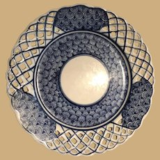 Ten Inch Blue and White Basket Weave Plate