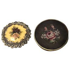 Two Small  Rose Decorated Three Inch Mirrors