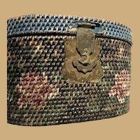 Unusual Twelve Inch Painted Basket with Brass Keep